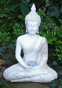 LARGE SHABBY CHIC MEDITATION BUDDHA HOLDING NATURAL UNIQUE CELESTITE RAW CRYSTAL