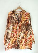 Jones New York Multicolored Abstract Print Lightweight Linen Jacket Plus Size 2X