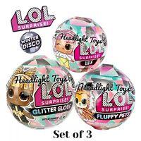3 LOL Surprise Winter Disco Balls Glitter Globe Doll Fluffy Pets LILS In Hand