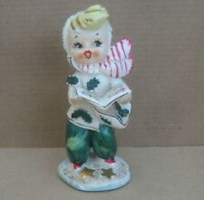 Lefton 50s Christmas Caroler, Girl with Songbook Figurine #072 chip