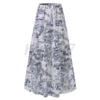 ZANZEA UK Womens Vintage Elastic Waist Printed Skirts Casual Loose Cotton Dress