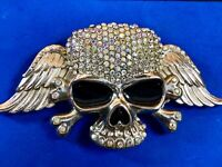 """Large almost 7"""" Skeleton with wings silver tone rhinestone covered belt buckle"""