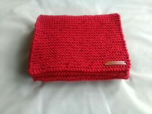 Red Handmade Hand-knitted Scarf 23 X 158cm