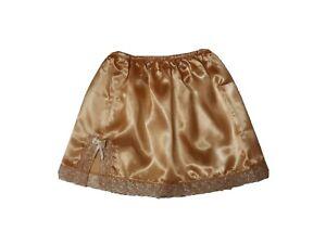 GOLD Sheer Mini Satin Under skirt UK SIZE 6-18 Glossy Sissy Waist Slip Half Slip