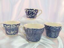 Blue Transferware Ironstone tea cup Set of 4 EIT Ltd. England Old English Motif