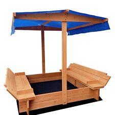Children Outdoor Round Corner Canopy Sand Pit 120cm Natural Wood Kids Play