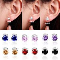 Women Multicolor Zircon Crystal Earrings Silver Wedding Simple Jewelry Gifts