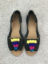 Black Real Leather Sandals ASOS Multicolour Pom Poms Size 7 BRAND NEW