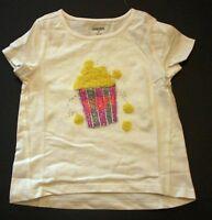 NEW Gymboree Girls Top Popcorn Glitter Print & Applique White Tee 3T 4T 5T