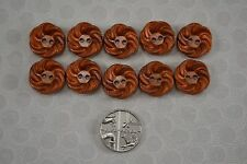 VINTAGE 1940s set of 10 copper swirl knot buttons plastic celluloid 15mm