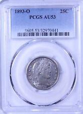 1893-O Barber Quarter : PCGS AU53