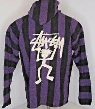 VTG STUSSY 90s Mexican Blanket retro Baja pullover Hoodie poncho jacket XL