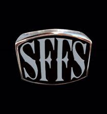 Stainless Steel SFFS Letter Biker Ring Blk Enamel Custom Sized TL-033SS