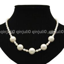 "Fashion white 6-7mm oval pearl +16mm white shell pearl nekclace 20"" JN1348"