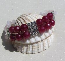 "Natural Ruby & Rose Quartz Gemstone Crystal Bracelet ""Passionata"""