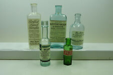 More details for group of 5 very old bottles with genuine old labels added