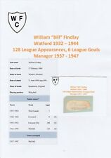 BILL FINDLAY WATFORD MANAGER 1937-47 VERY RARE ORIGINAL HAND SIGNED CUTTING/CARD