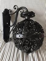 Vintage Iron Wall Fixture Sconce Ball Flowers Scrolls Single Light Black Globe
