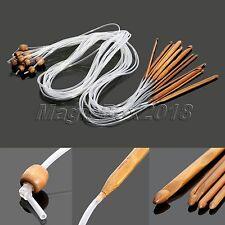 1.2M 12 Size Flexible Afghan Tunisian Carbonized Bamboo Needle Crochet Hooks