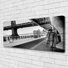 Leinwand-Bilder Wandbild Canvas Kunstdruck 125x50 Brücke Straße Fahrrad