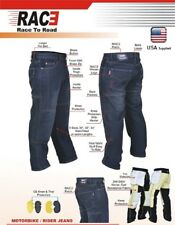 Men Motorbike Motorcycle Jeans Denim Pants Trouser With Protective Lining Black 30 32