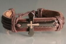 Christian Bracelet Laser-Etched Cross BROWN Leather Cuff w Brown Trim Low Stock!