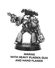 ++MINT OOP 1989 Rogue Trader Era 40K Space Marine w/ heavy plasma gun & flamer++