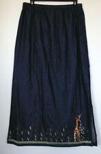 Casual Designs Long Straight Dark Blue Giraffe Design Denim Maxi Jean Skirt S