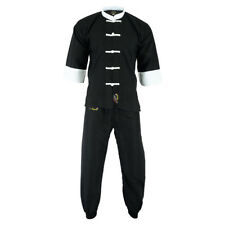 Playwell Kung Fu Microfibre Light Weight Uniform Black/Whi Martial Arts Gi Suits