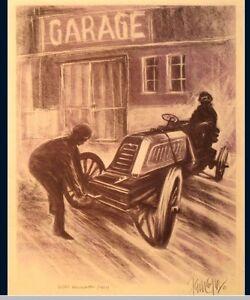 MORS RENNWAGEN 1901 Kunstdruck Original Ferreyra-Basso Mille Miglia Le Mans