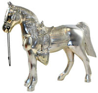 "Silver Tone Pot Metal Carnival Prize Parade Horse Fancy Saddle 10"" USA Stamped"