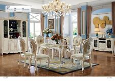 Baroque Antique Style Dining Room Set Wood Marble Table + Classic 6x Chairs