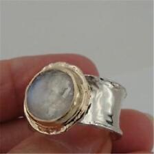 Hadar Designers Handmade 9k Yellow Gold 925 Silver Moonstone Ring 6,7,8,9(I r137