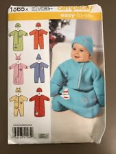 Simplicity 1565 Infant Baby Bunting Romper Hat Sewing Pattern Newborn XXS,XS,S