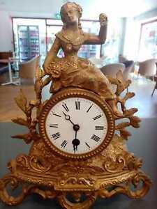 French Antique clock speltre spelter mantel gilt gilded, key, base [ no dome ]
