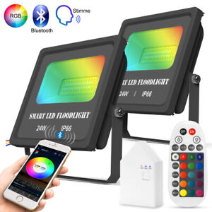 2er Smart WIFI BT RGB+WW+CW LED Fluter Flutlicht Außen Baustrahler Scheinwerfer