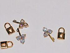 2pc Miniature dollhouse tiny little Crystal golden Lock & Key bead nail charm NW
