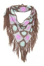 Brown Teal & Pink Girly Floral Crochet Style Winter Bandana Scarf W Tassels s123
