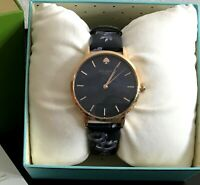 Kate Spade Womens Metro Rose Floral Navy Blue Leather Watch KSW1390 NWT NEW BOX