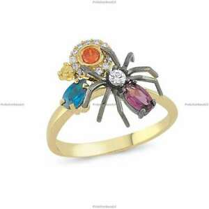 14k Gold Sapphire Diamond Special Spider Art Deco Engagement Ring For Women