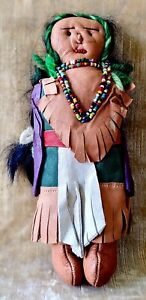 Vintage Souvenir NATIVE AMERICAN INDIAN Leather Doll Fringe & Beadwork 1930's
