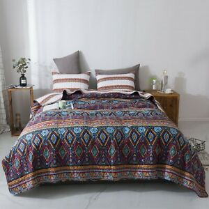 DaDa Bedding Southwestern Aztec Bohemian Desert Tribal Quilted Bedspread Set