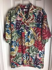 Burma Bibas Button Up -Floral Vibrant Hawaiian Rayon Shirt Mens- Size M Medium