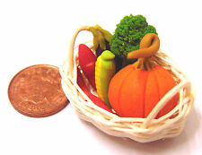 1 12 Mixed Vegetables in Basket Dolls House Miniature Kitchen Food Accessory a
