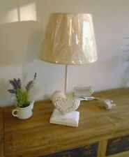 Shabby Chic Vintage Heart Table Lamp White