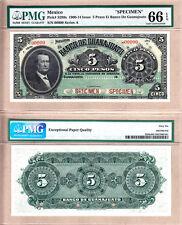 PMG GEM UNC66 1900-1914 Mexico 5 Pesos SPECIMEN El Banco de Guanajuato PS-289s