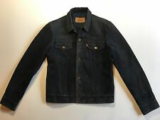 Vintage Black Suede Levis Leather Trucker Jacket size Large S