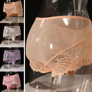 Mens Sissy Pouch Panties Underwear Sexy Lace Briefs Knickers Shorts Underpants