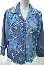 SANDY STARKMAN coat distressed denim blazer studded jean jacket shabby top M NEW