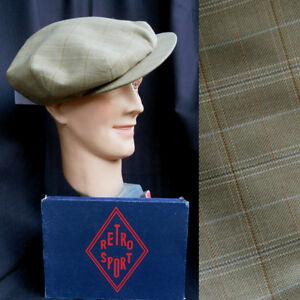 VINTAGE CASQUETTE  HOMME RETRO GATSBY VINTAGE CAP 1930/1940 kaki/carreaux T61